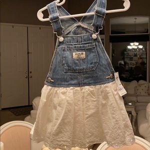 overall dress with eyelet skirt